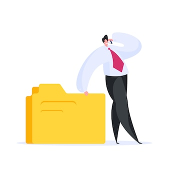 Businessman with data speaking on smartphone. flat  illustration
