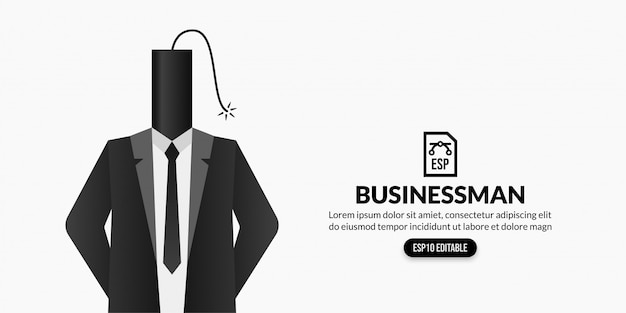 Businessman with dynamite stick headed on white background