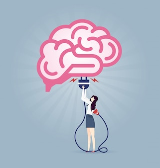 Businessman with electrical plug plugging in the brain sign - illustration