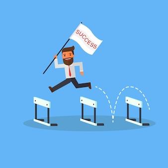 Бизнесмен с успехом флаг прыгает через препятствия