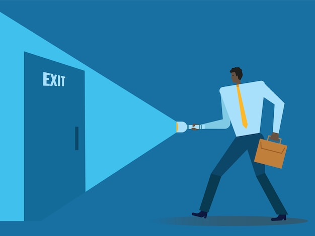 Businessman with flashlight finding exit door.