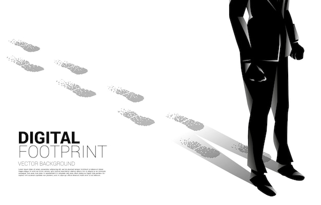 디지털 도트 픽셀에서 발자국에서 발자국 사업가. 디지털 변환 및 디지털 발자국의 비즈니스 개념.