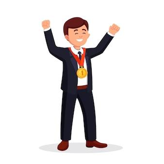 청중에 게 그의 손을 흔들며 황금 메달 사업가. 성공적인 행복 한 사람