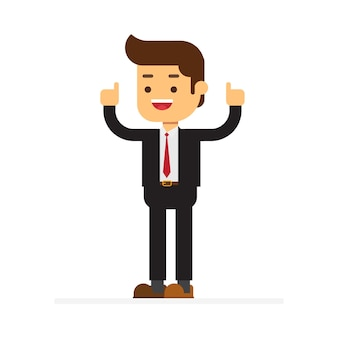 Businessman with hand thumbs up