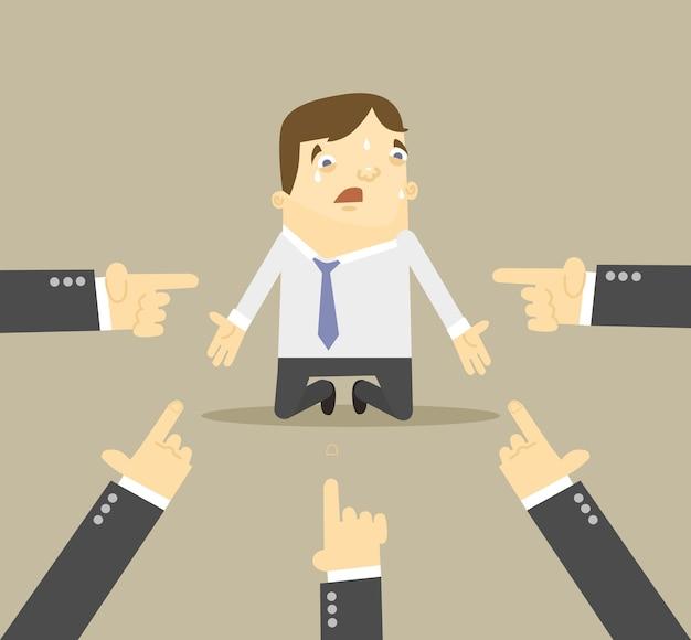Бизнесмен с руками, указывающими на него плоской иллюстрации