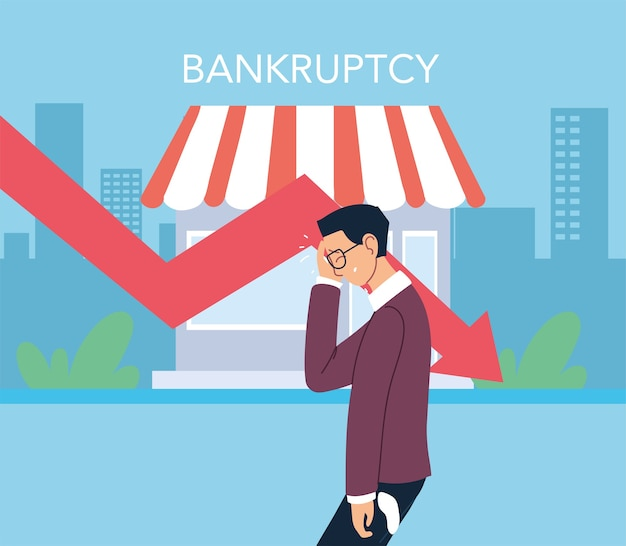 Businessman with headache and decrease arrow in front of store