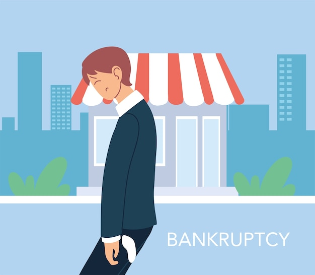 Businessman with headache in front of store