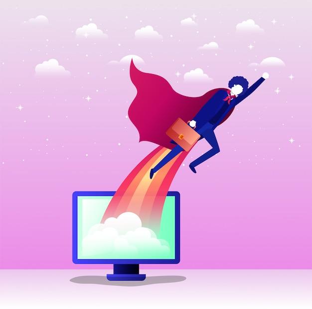 Businessman with hero coat flying in desktop