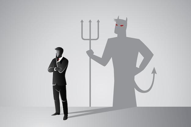 彼自身の邪悪な影を持つビジネスマン