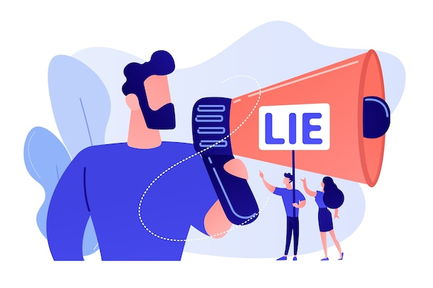 Businessman with huge megaphone cheating and tiny people holding word lie. cheating in competition, cheater person, game cheats use concept. pinkish coral bluevector isolated illustration