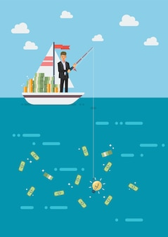 Businessman with idea fishing money