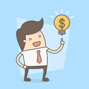 Businessman with idea to make money.