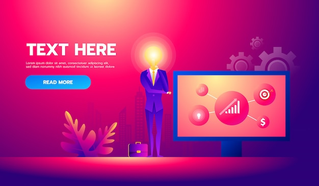 Businessman with idea working on presenting project. vector illustration