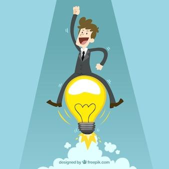 Businessman with an idea Premium Vector