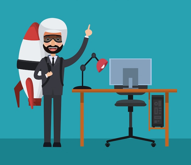 Businessman with jetpack and computer