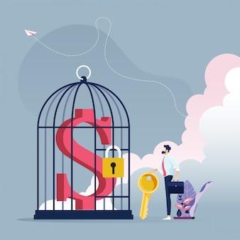 Бизнесмен с ключом, чтобы разблокировать знак доллара в клетке для птиц - бизнес-концепция
