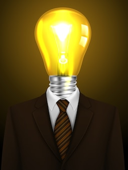 Businessman with a lamp head