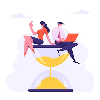 Businessman with laptop in hands and businesswoman sitting on hourglass flat illustration