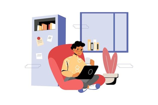 사무실에서 노트북으로 사업