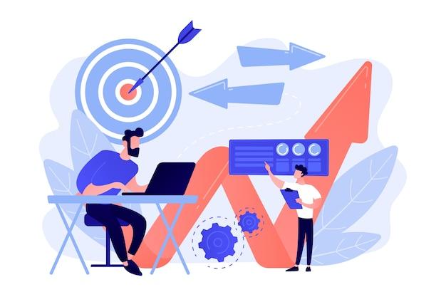 ノートパソコン、ターゲット、矢印を持つビジネスマン。ビジネスの方向性、戦略とターンアラウンド、紫外線の背景で方向を変えるキャンペーンのコンセプト。