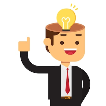 Businessman with light bulb in his head