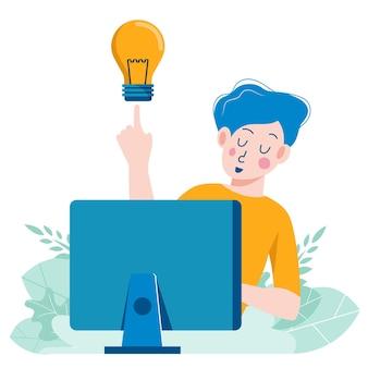 電球のアイデアとお金を持つビジネスマン