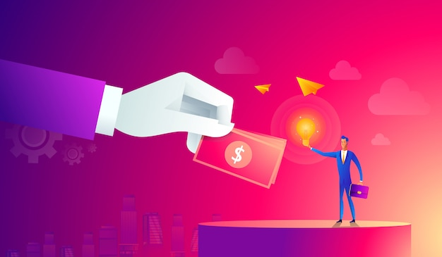 Businessman with light bulb and other hand giving money. crowdfunding, innovation, idea, investments concept. flat style icons. illustration