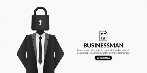 Бизнесмен с замком вместо головы на белом фоне с копией пространства