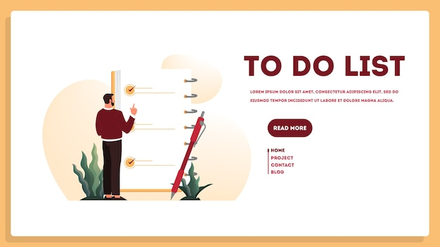 Businessman with a long to do list. big task document. man looking at their agenda list. time management concept. idea of planning and productivity.   illustration set