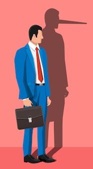 Бизнесмен с длинной тенью носа на стене. лжец, обманщик в делах. мошенничество, мошенничество, жульничество, мистификация и преступление. векторная иллюстрация в плоском стиле