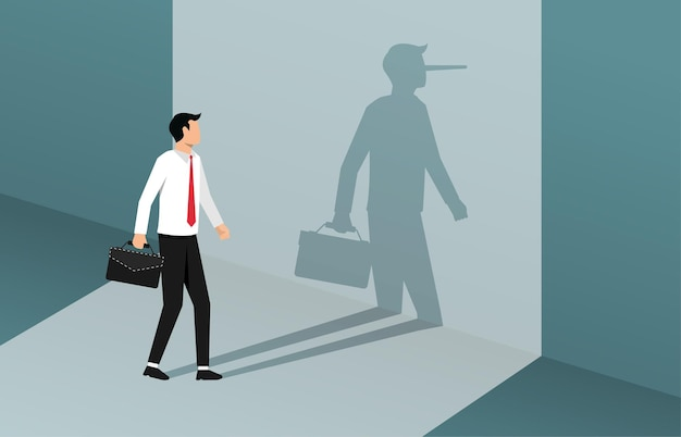 Businessman with long nose shadow on wall illustration.
