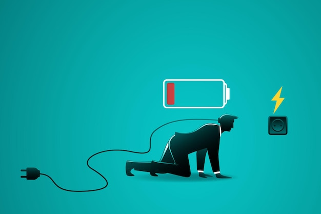 Businessman with low battery indicator crawling to electric plug for charging his power