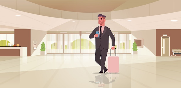 Businessman with luggage modern reception area business man holding suitcase guy standing in lobby contemporary hotel hall interior
