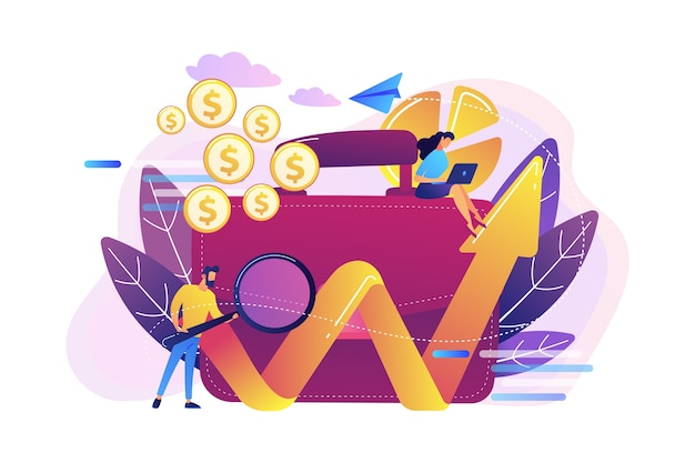 Бизнесмен с лупой смотрит на растущую диаграмму и иллюстрацию портфеля