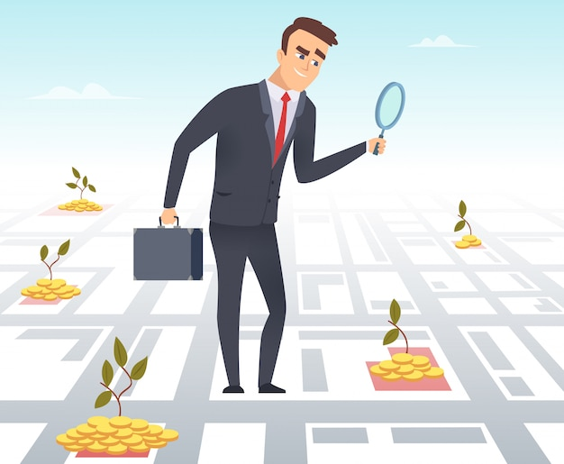 Businessman with a magnifying glass looking for money illustration