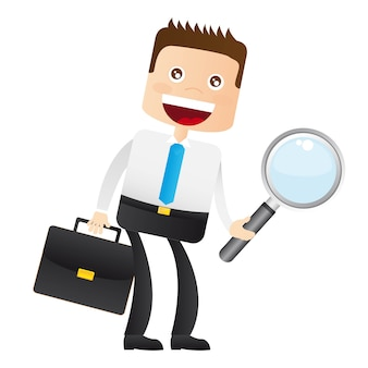 Businessman with magnifying glass and suitcase vector