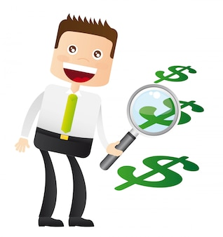 Businessman with magnifying glass and weights sign vector