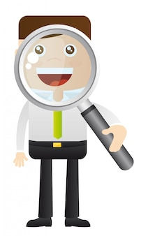 Businessman with magnifying glass over white background vector