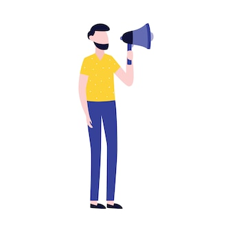 Businessman with megaphone advertising or promotion   icon .