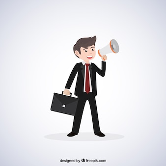 Businessman with megaphone and briefcase