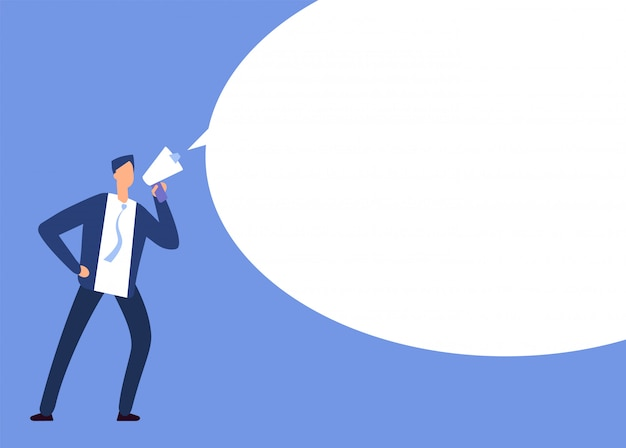 Businessman with megaphone. man with loudspeaker and blank speech bubble. announcement
