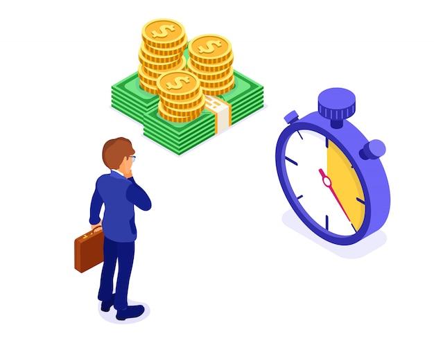 お金と時計の等角投影図を持ったビジネスマン