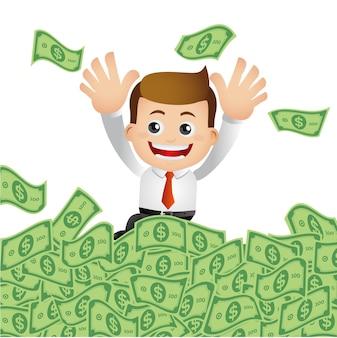 Businessman with money cash.