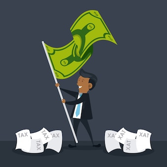 Businessman with money flag cartoon
