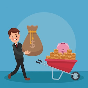 Businessman with money inside wheelbarrow