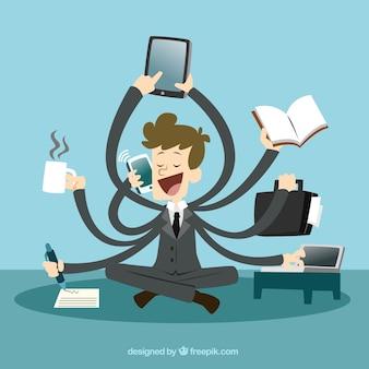 Businessman with multitasking