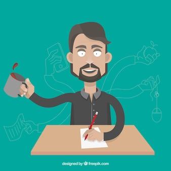 Uomo d'affari con il multitasking