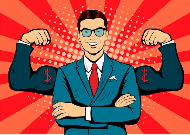 Businessman with muscles pop art retro style