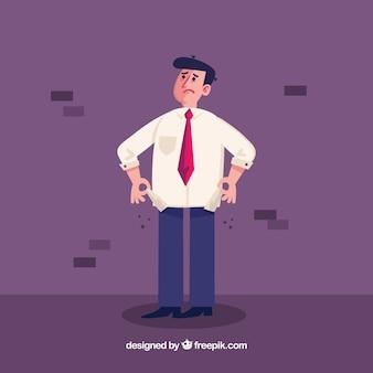 Uomo d'affari senza soldi in tasca