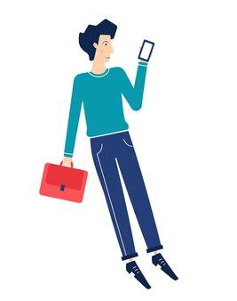 전화와 사업가입니다. 단순한 캐릭터. 양식에 일치시키는 현대 평면. 흰색 배경에 고립.